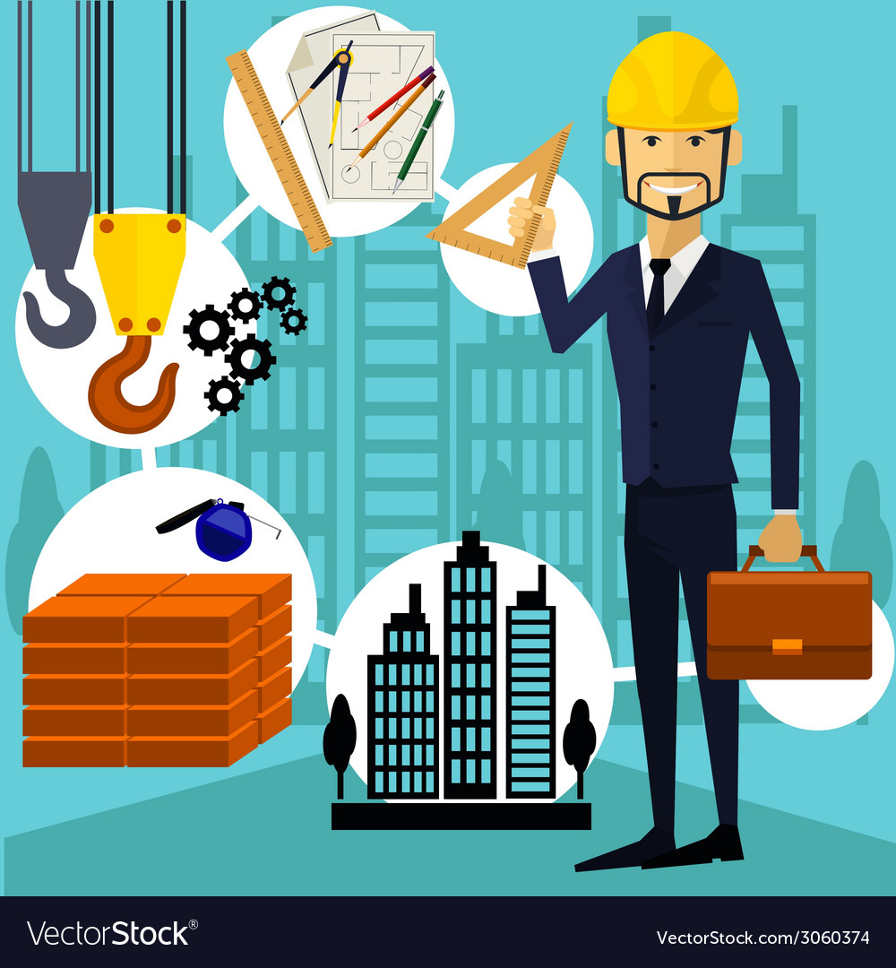 Architect constructor worker at his work place vector | Price: 1 Credit (USD $1)