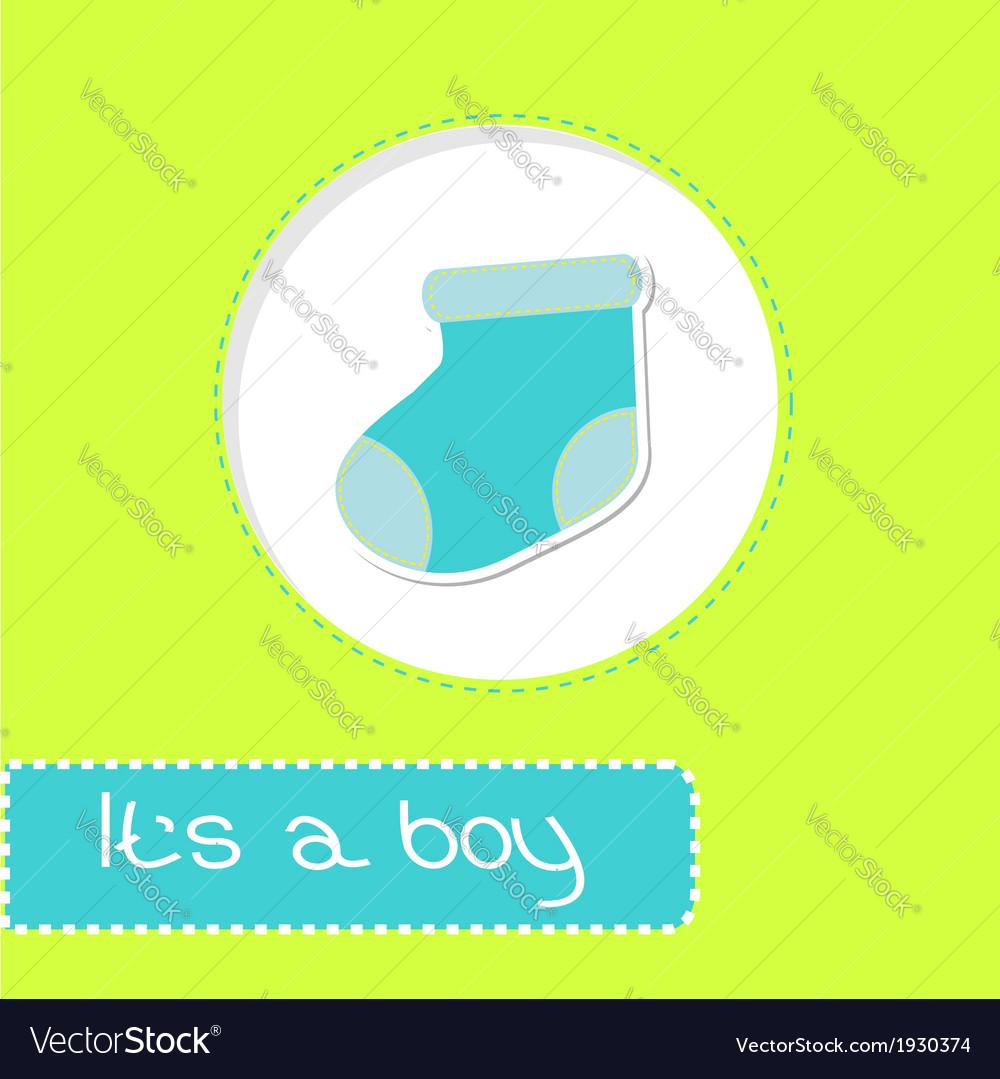 Baby boy sock shower card vector | Price: 1 Credit (USD $1)