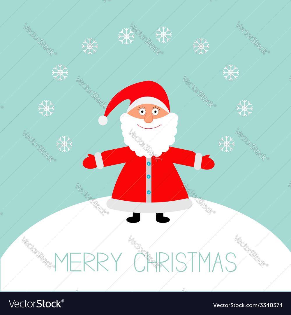 Cartoon santa claus snowflakes snowhill christmas vector | Price: 1 Credit (USD $1)