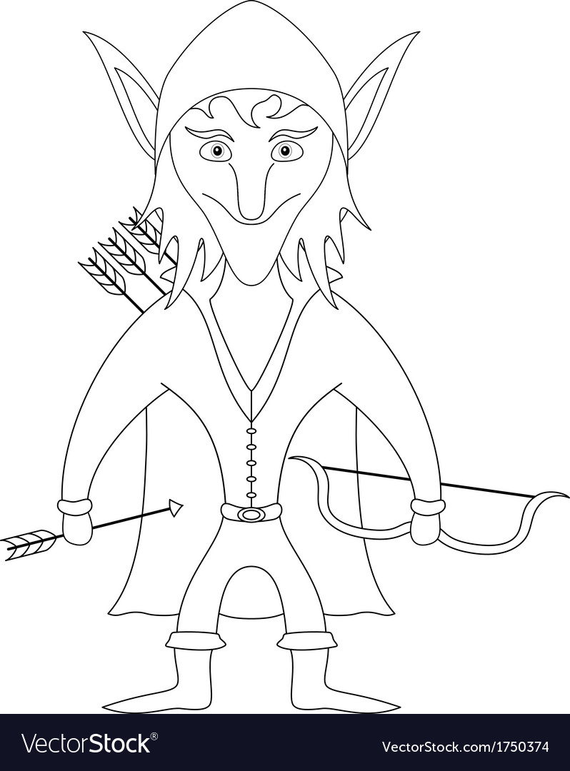 Elf archer contour vector | Price: 1 Credit (USD $1)