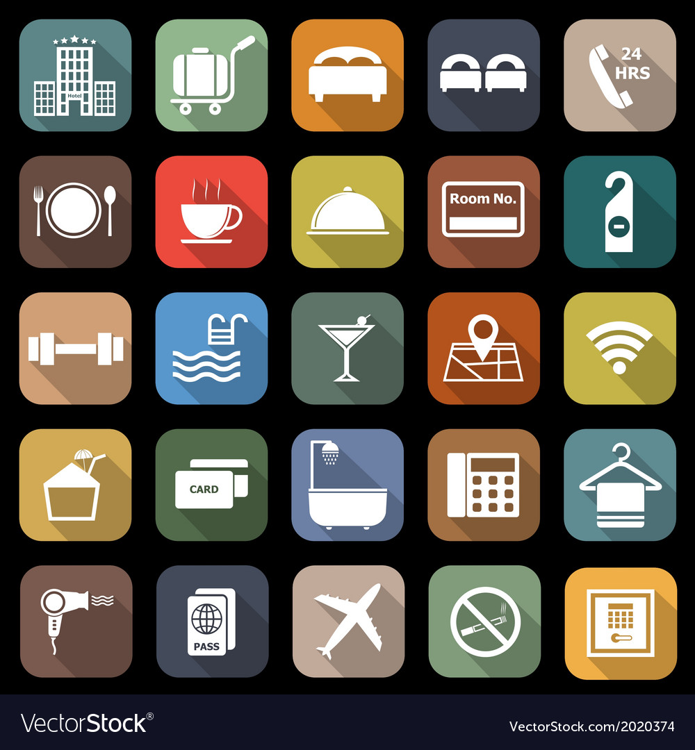 Hotel flat icons with long shadow vector | Price: 1 Credit (USD $1)