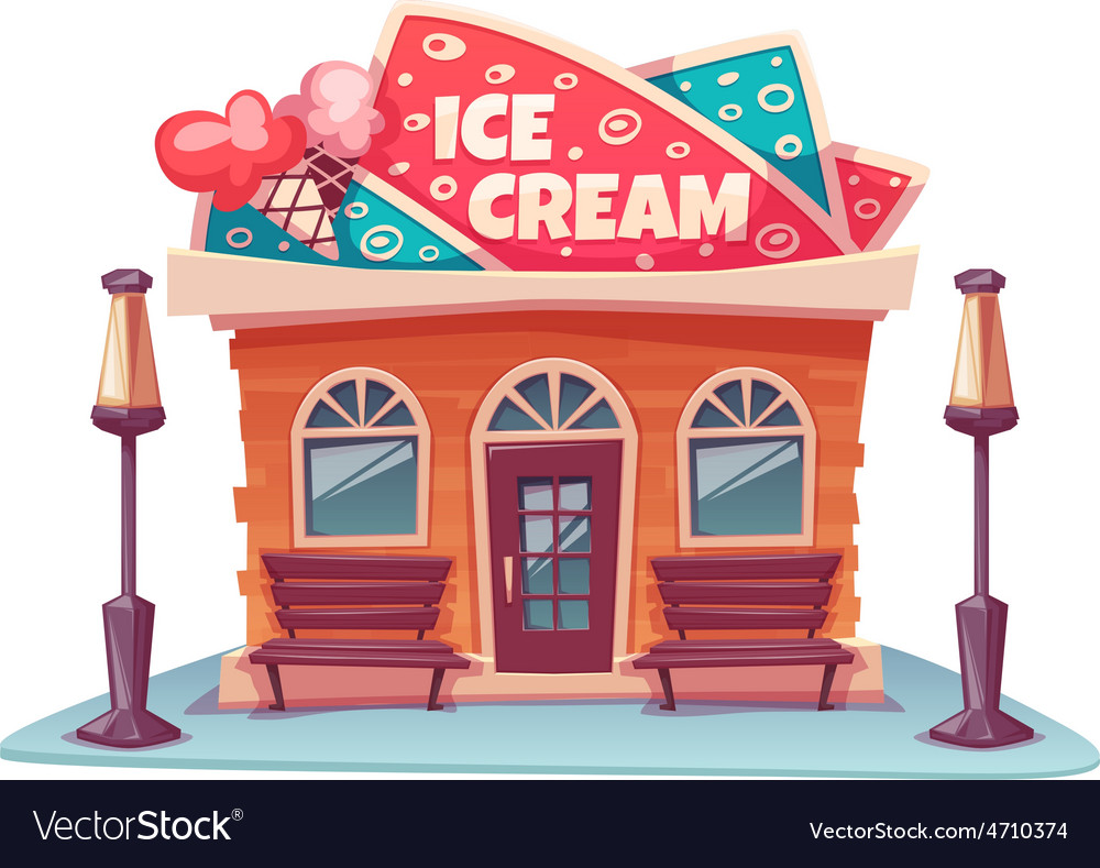 Ice cream shop building vector | Price: 5 Credit (USD $5)
