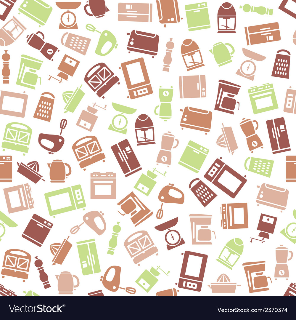 Kitchen appliances and tools seamless pattern vector | Price: 1 Credit (USD $1)