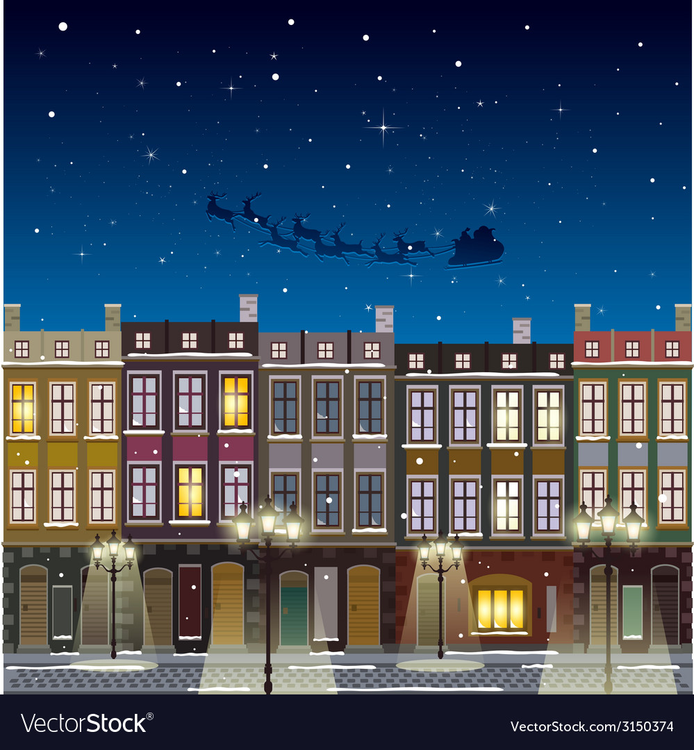 Old street christmas background at night vector | Price: 1 Credit (USD $1)