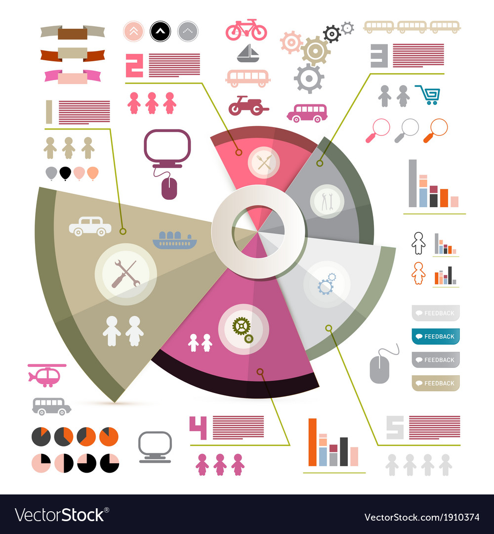 Retro infographics layout with icons - elements vector | Price: 1 Credit (USD $1)