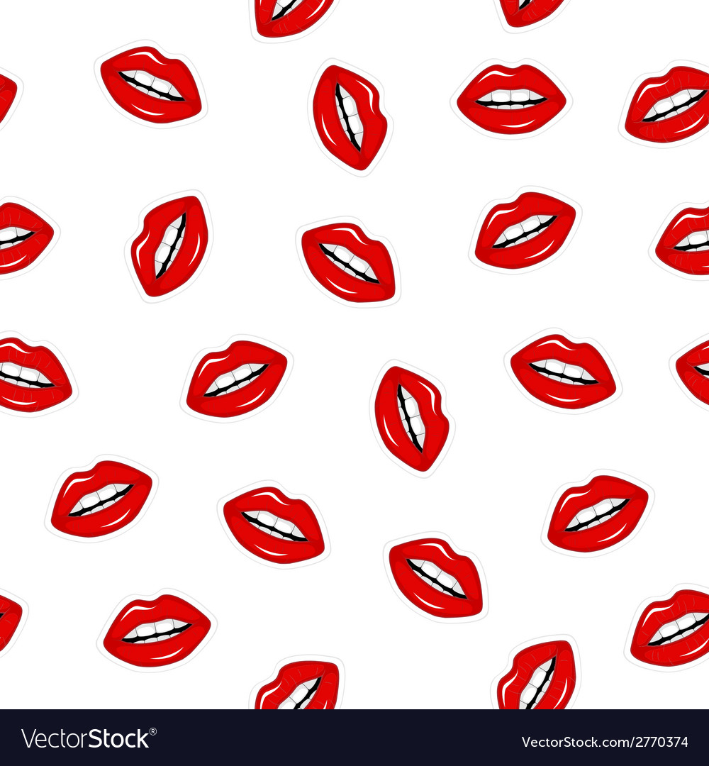 Seamless pattern of red lips vector | Price: 1 Credit (USD $1)