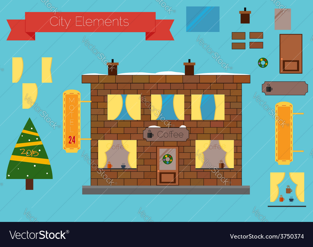 Set of building elements flat design christmas tre vector | Price: 1 Credit (USD $1)