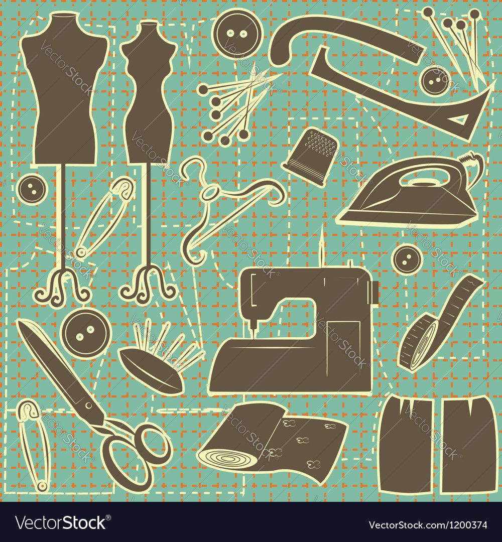 Sewing symbol seamless pattern tailoring vector | Price: 3 Credit (USD $3)