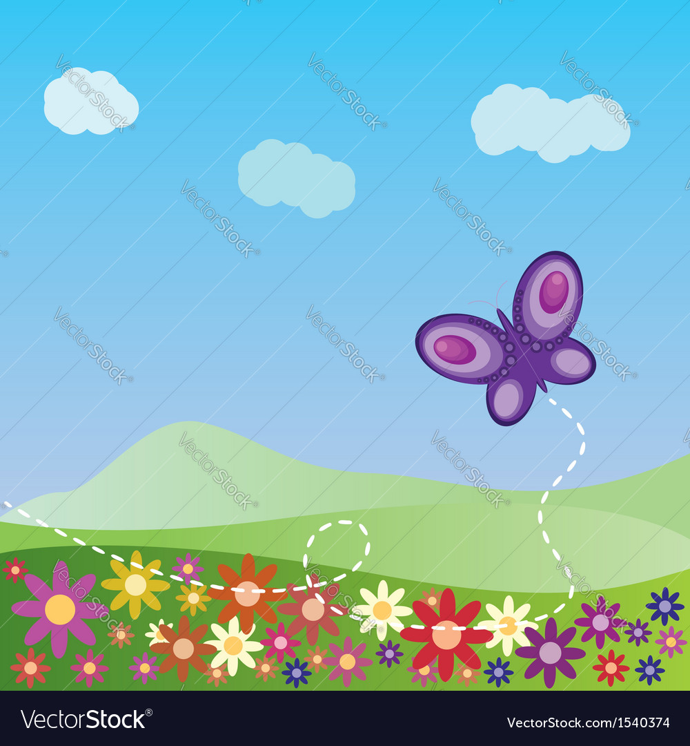 Summer landscape with butterfly vector | Price: 1 Credit (USD $1)