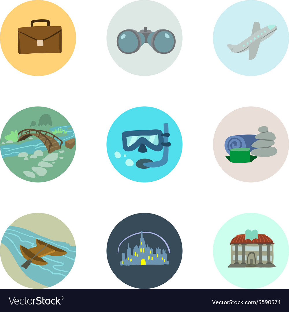 Travel icons set part 1 vector | Price: 1 Credit (USD $1)