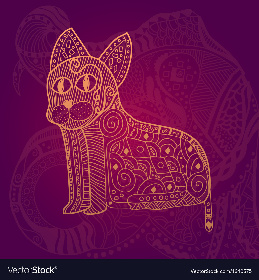 Abstract lace cat card vector | Price: 1 Credit (USD $1)