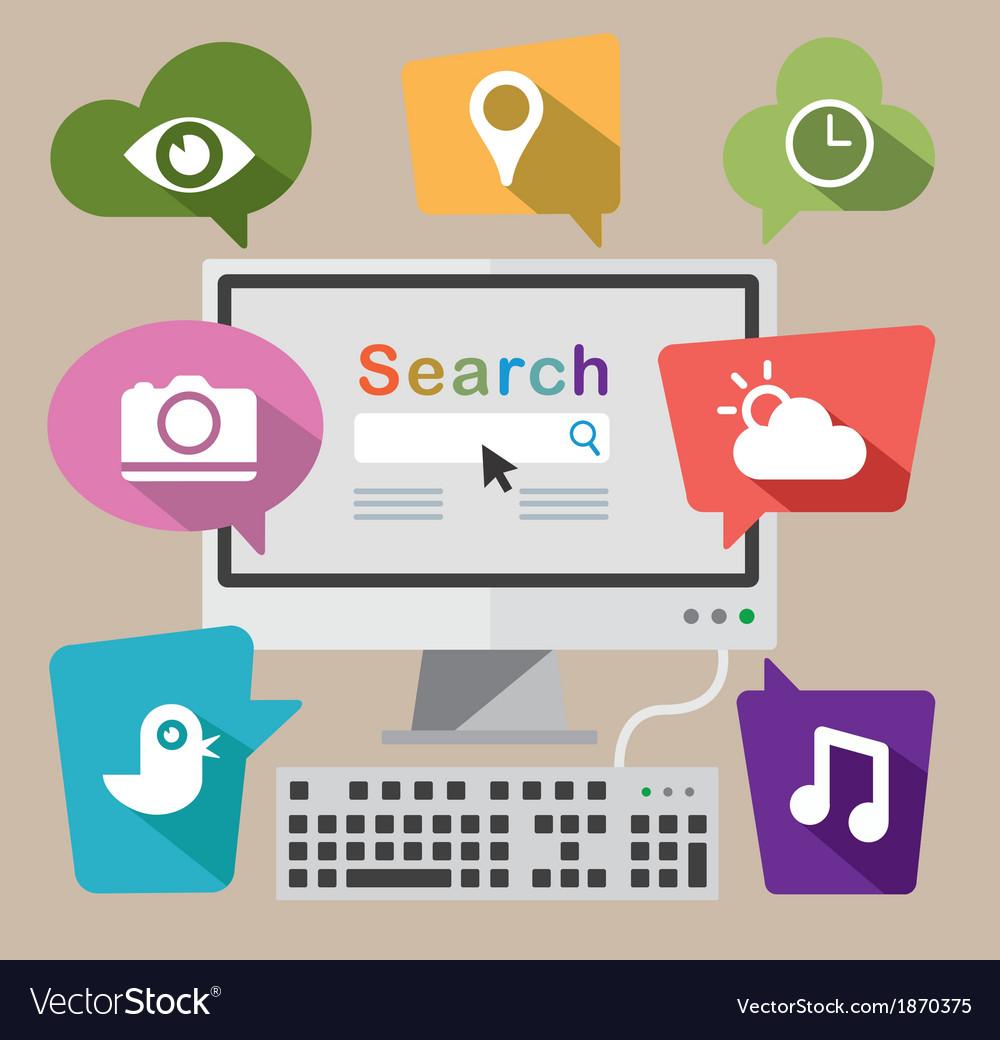 Cloud computing using a desktop pc vector | Price: 1 Credit (USD $1)