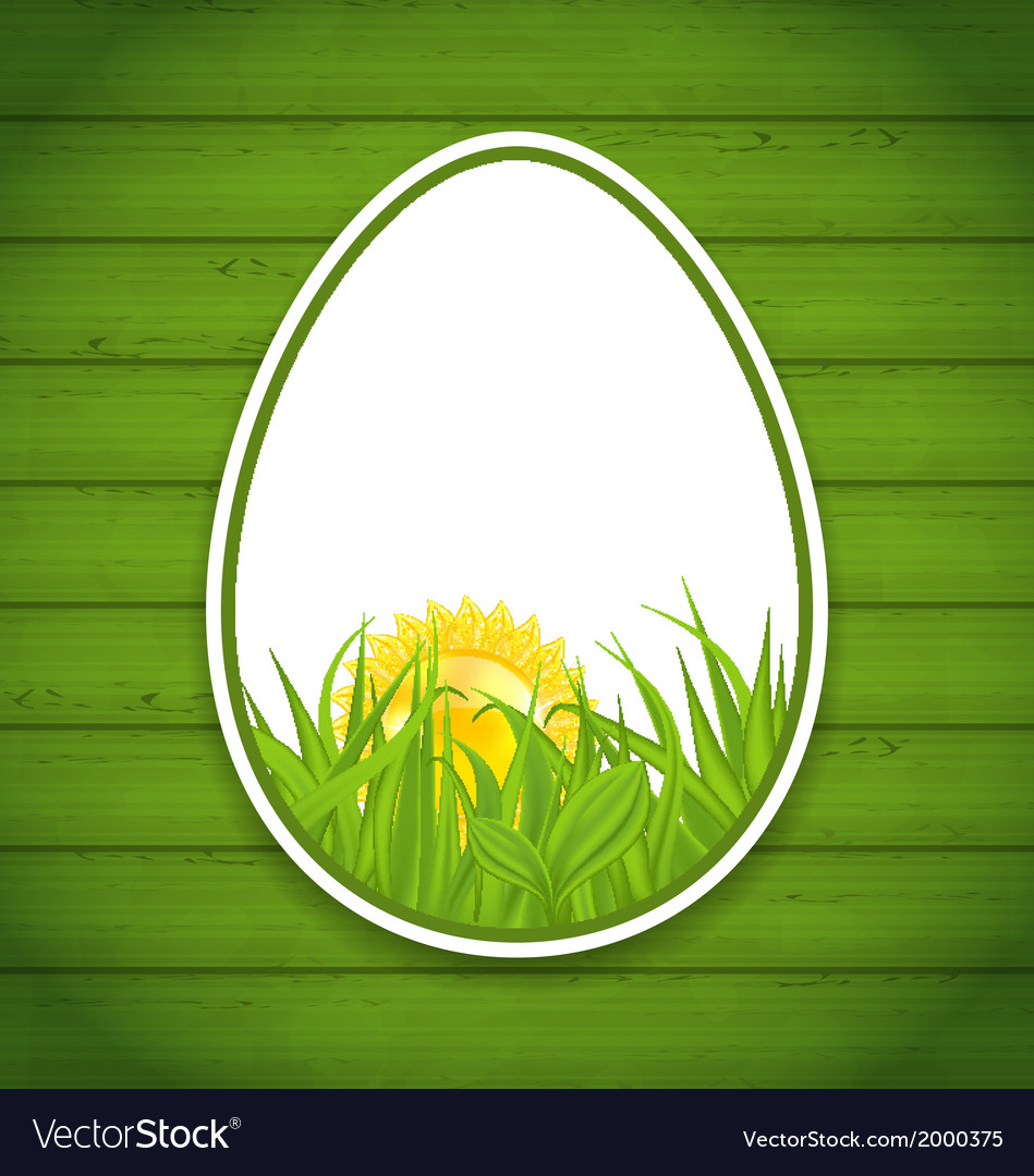 Easter paper sticker eggs on wooden background vector | Price: 1 Credit (USD $1)