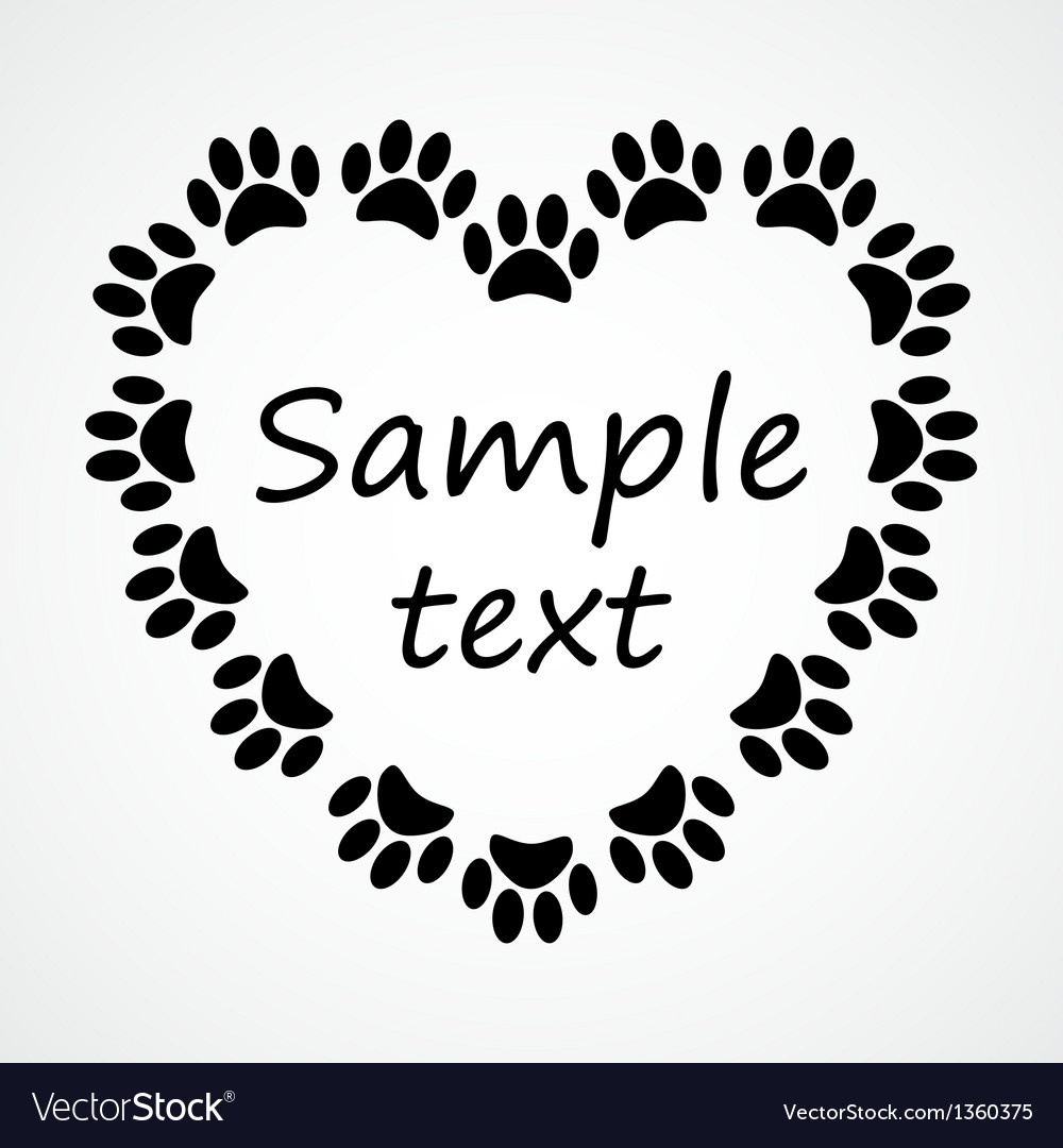 Heart with animals footprints vector | Price: 1 Credit (USD $1)