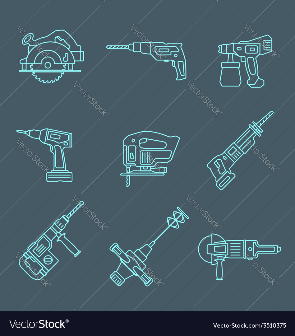 Light outline house remodel power tools icons on vector | Price: 1 Credit (USD $1)