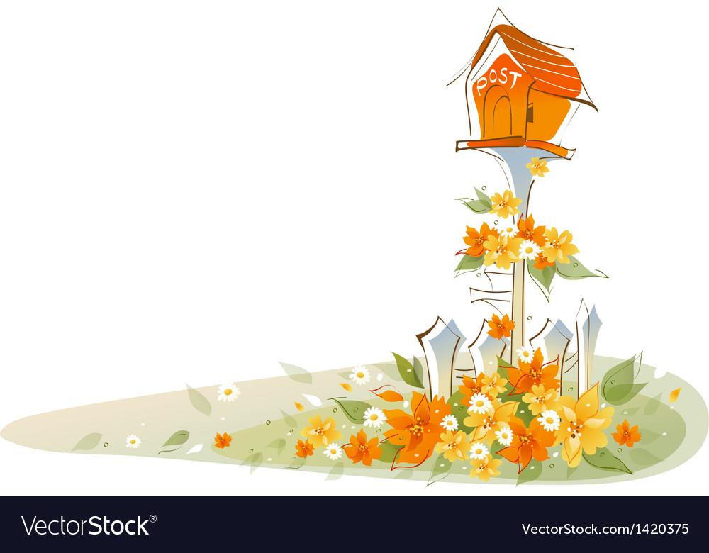 Postbox over floral landscape vector