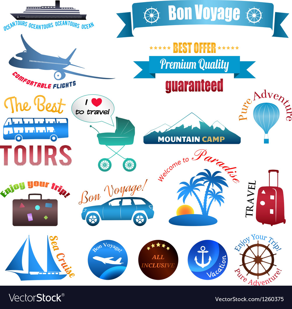 Set of labels badges and stickers on travel vector | Price: 1 Credit (USD $1)