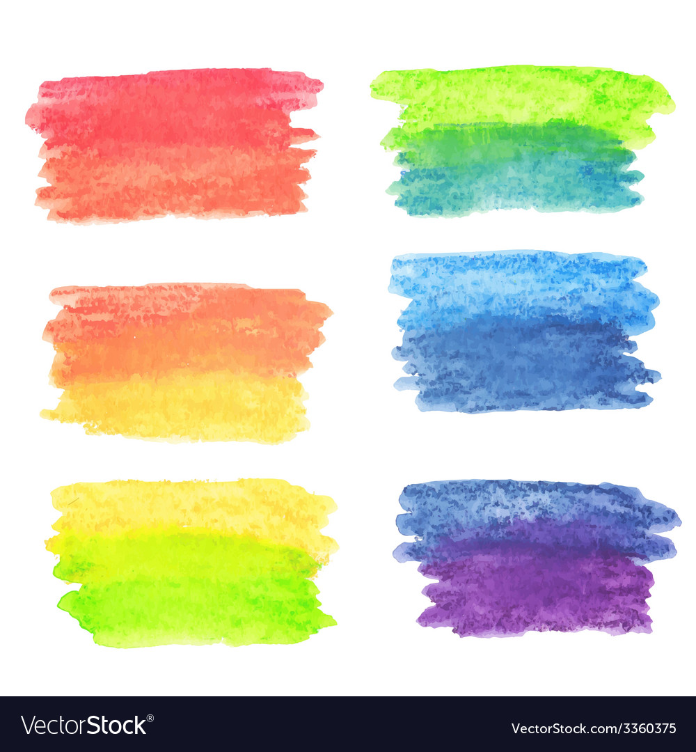 Set of rainbow watercolor banners vector | Price: 1 Credit (USD $1)