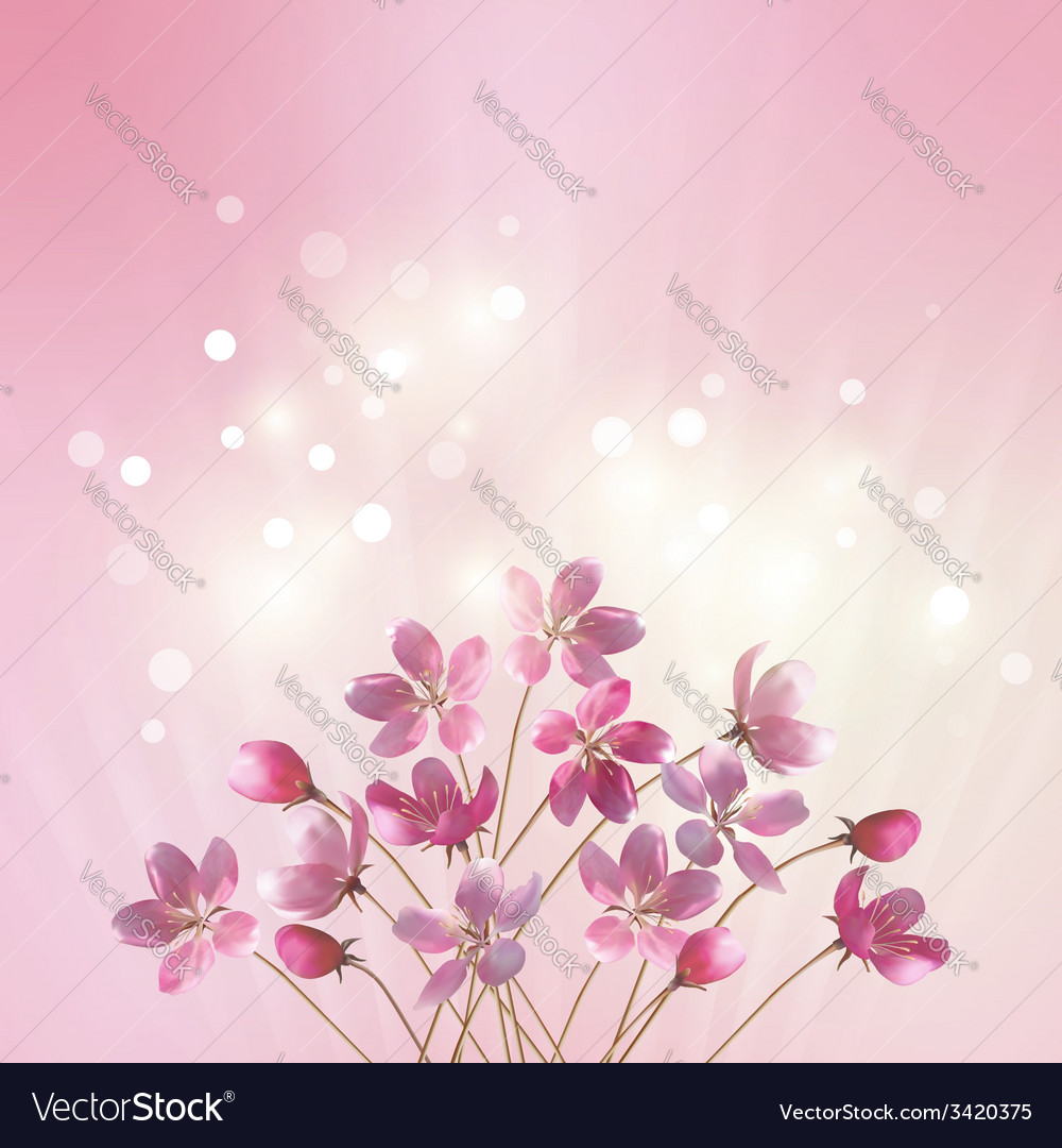Shining pink flowers background vector | Price: 1 Credit (USD $1)
