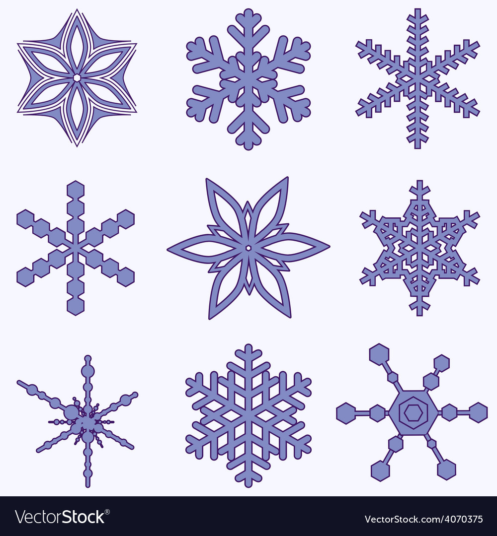Simply snowflake set vector | Price: 1 Credit (USD $1)
