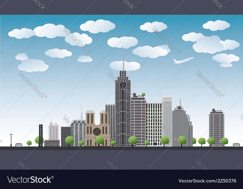 An imaginary big city with skyscrapers vector | Price: 1 Credit (USD $1)