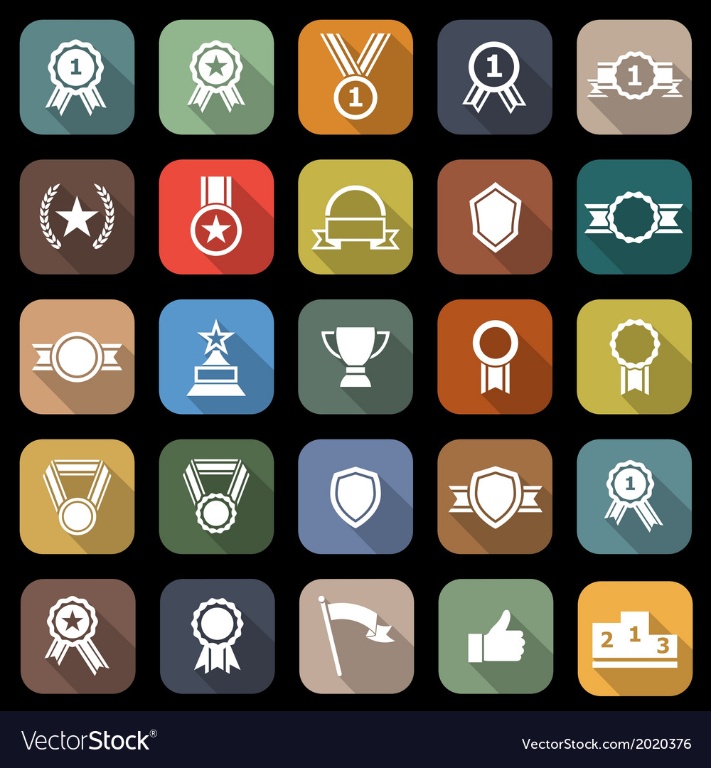 Award flat icons with long shadow vector | Price: 1 Credit (USD $1)