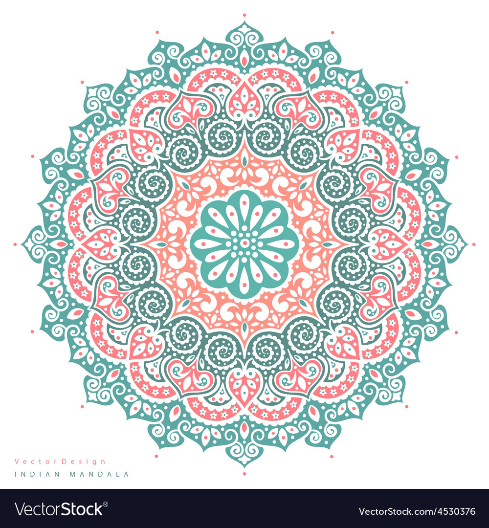 Beautiful indian floral mandala ornament vector | Price: 1 Credit (USD $1)