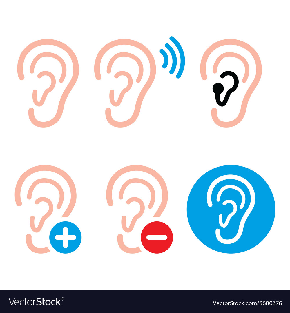 Ear hearing aid deaf person - health problem icon vector | Price: 1 Credit (USD $1)