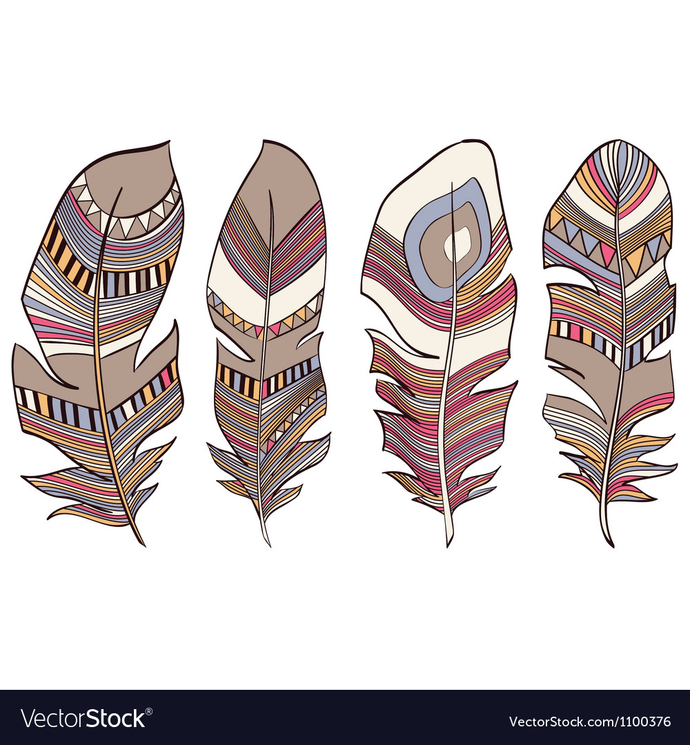 Ethnic indian feathers plumage background vector | Price: 1 Credit (USD $1)