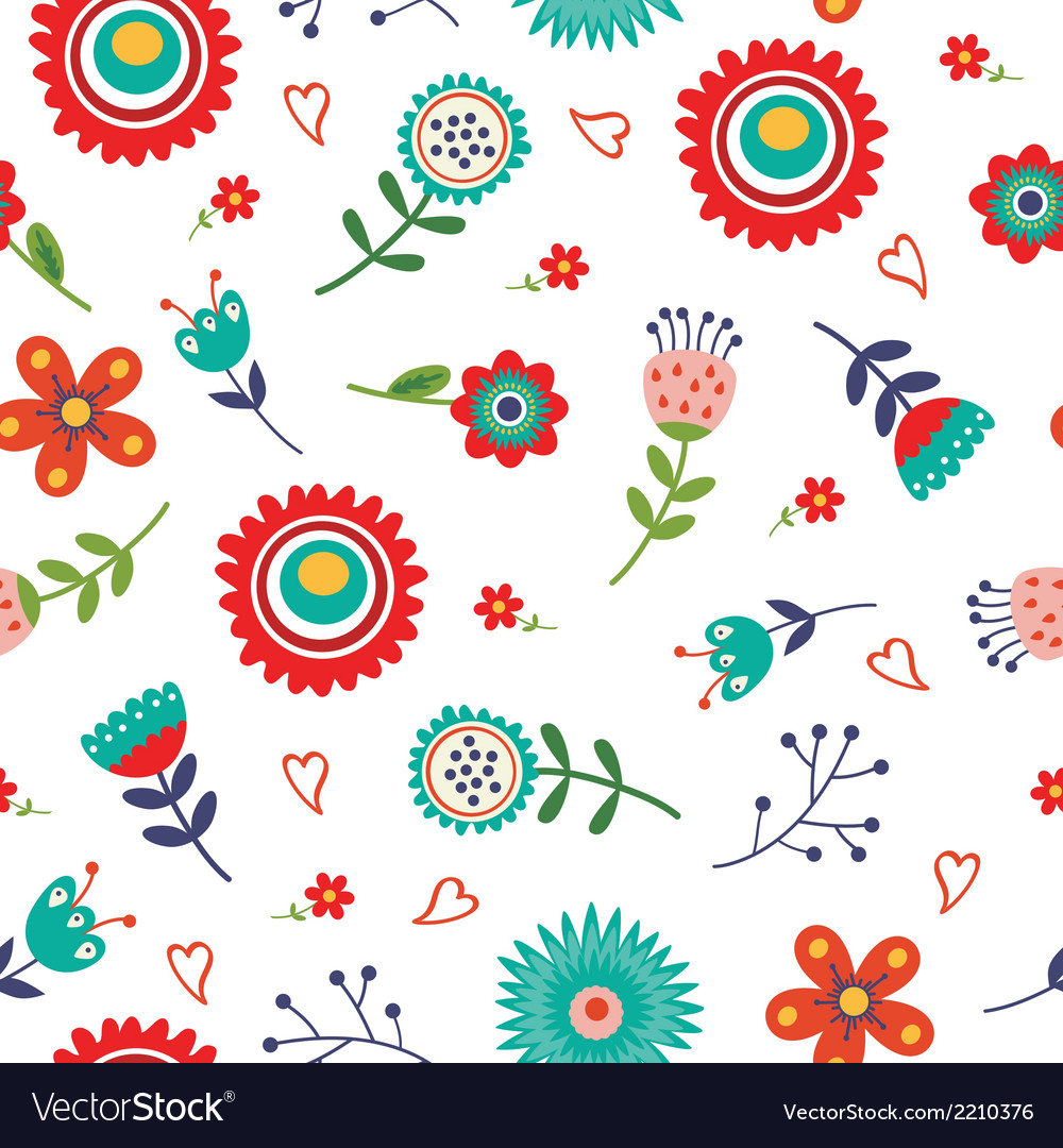 Floral seamless pattern with bright colors vector | Price: 1 Credit (USD $1)