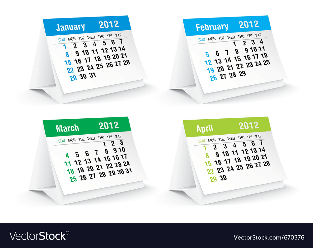Jan to april calendar vector | Price: 1 Credit (USD $1)