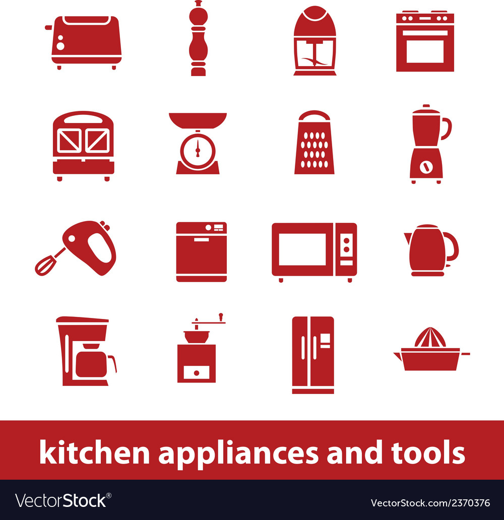 Kitchen appliances and tools icons vector | Price: 1 Credit (USD $1)