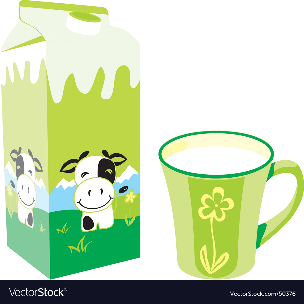 Milk carton and mug vector | Price: 3 Credit (USD $3)