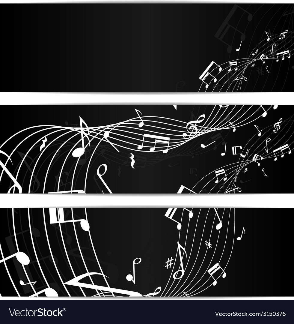 Music notes black banners vector | Price: 1 Credit (USD $1)