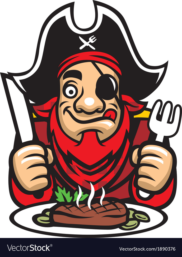 Pirate eat steak vector | Price: 3 Credit (USD $3)