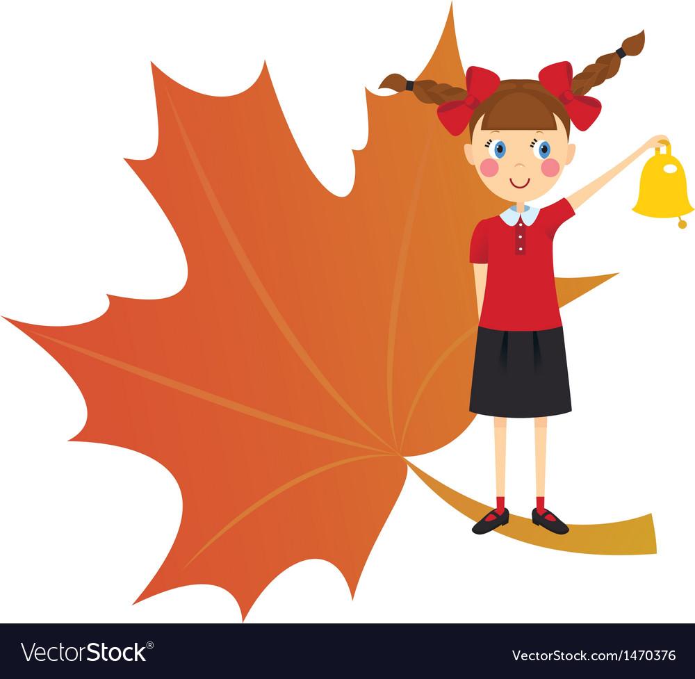 Schoolgirl with bell vector | Price: 3 Credit (USD $3)