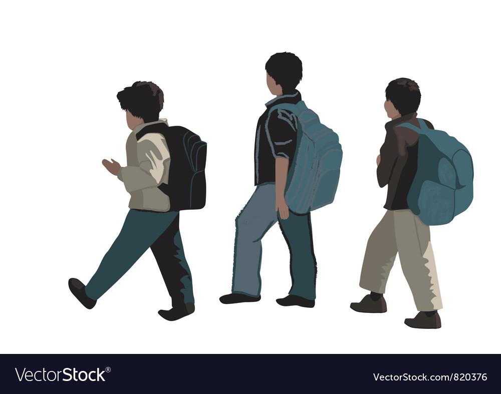 Three school students vector | Price: 1 Credit (USD $1)