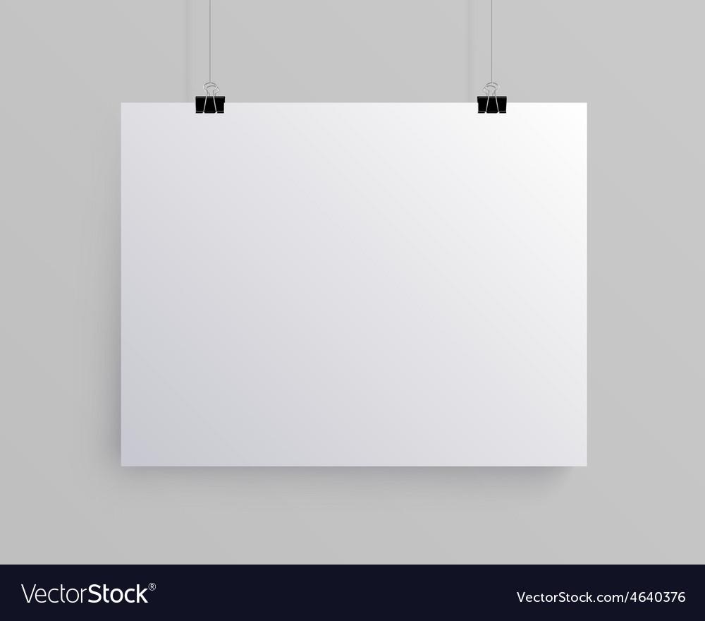 White blank horizontal sheet of paper mock vector   Price: 1 Credit (USD $1)