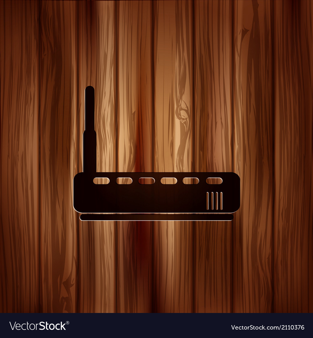 Wi fi router web icon wooden background vector | Price: 1 Credit (USD $1)