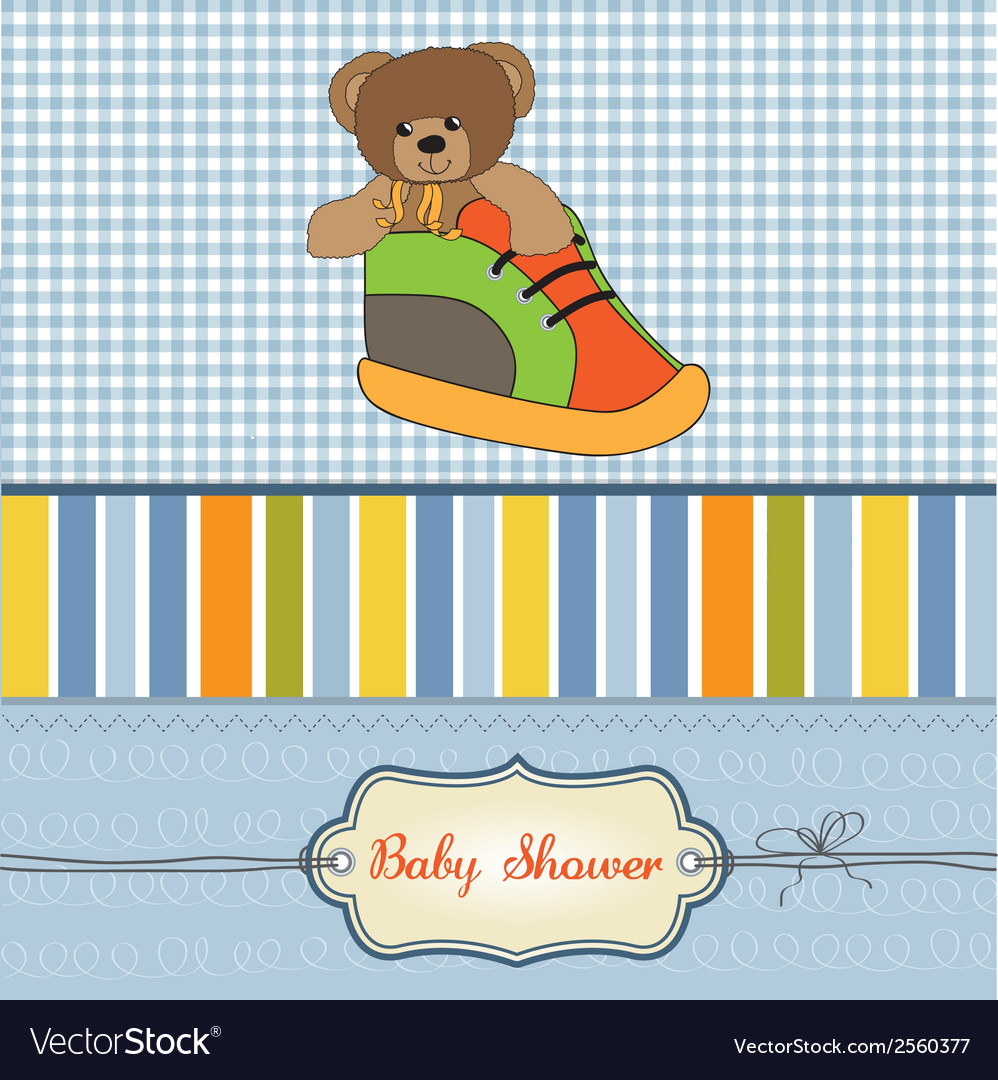 Baby shower card with teddy bear hidden in a shoe vector | Price: 1 Credit (USD $1)