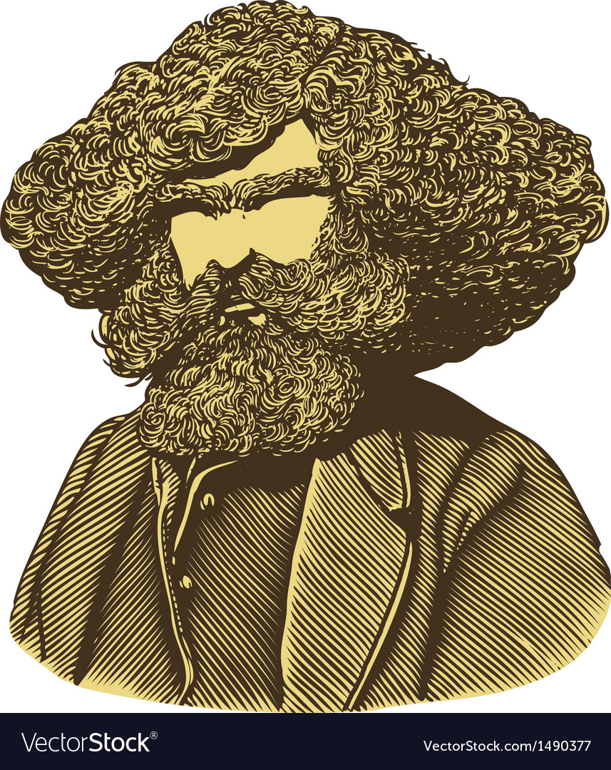 Bearded man with long hair in engraved style vector | Price: 1 Credit (USD $1)