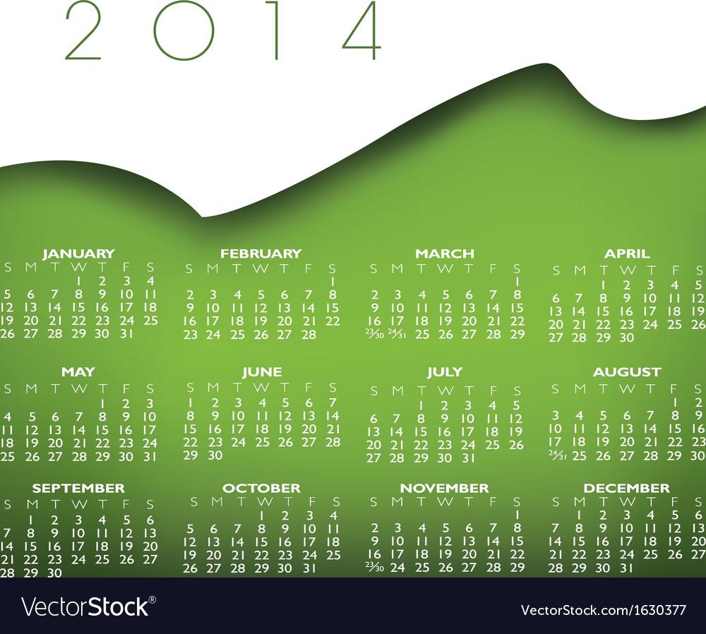 Headstock 2014 calendar vector | Price: 1 Credit (USD $1)