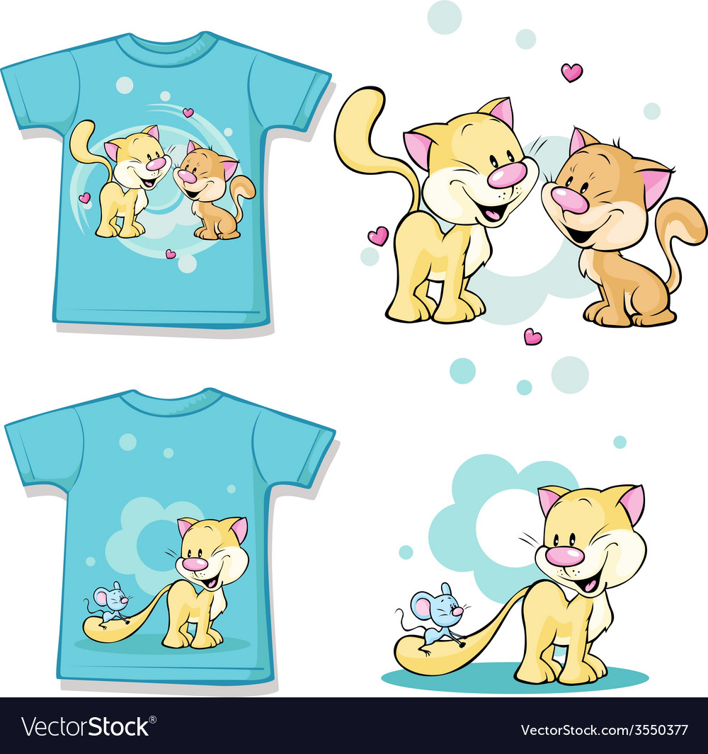 Kid shirt with cute cat in love printed - isolated vector | Price: 1 Credit (USD $1)