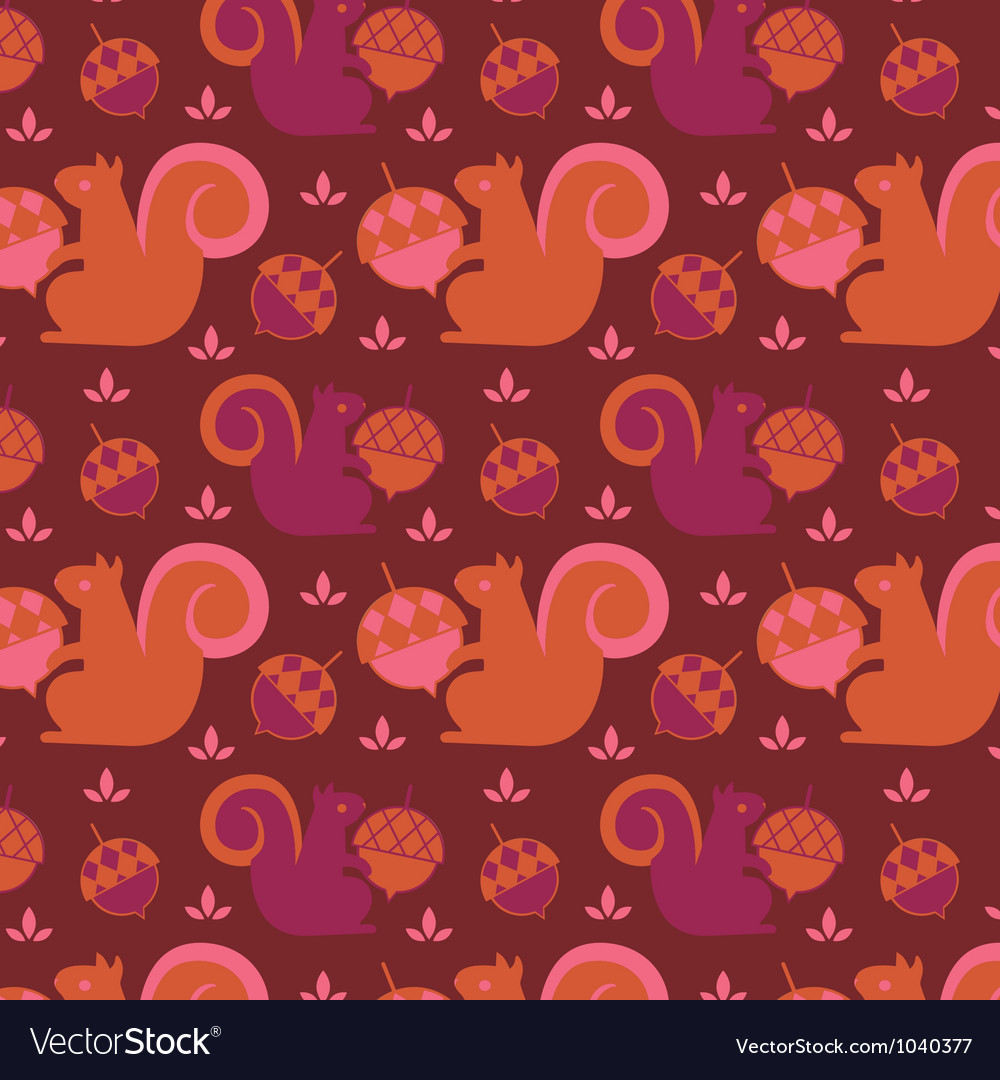 Little squirrel seamless background vector | Price: 1 Credit (USD $1)