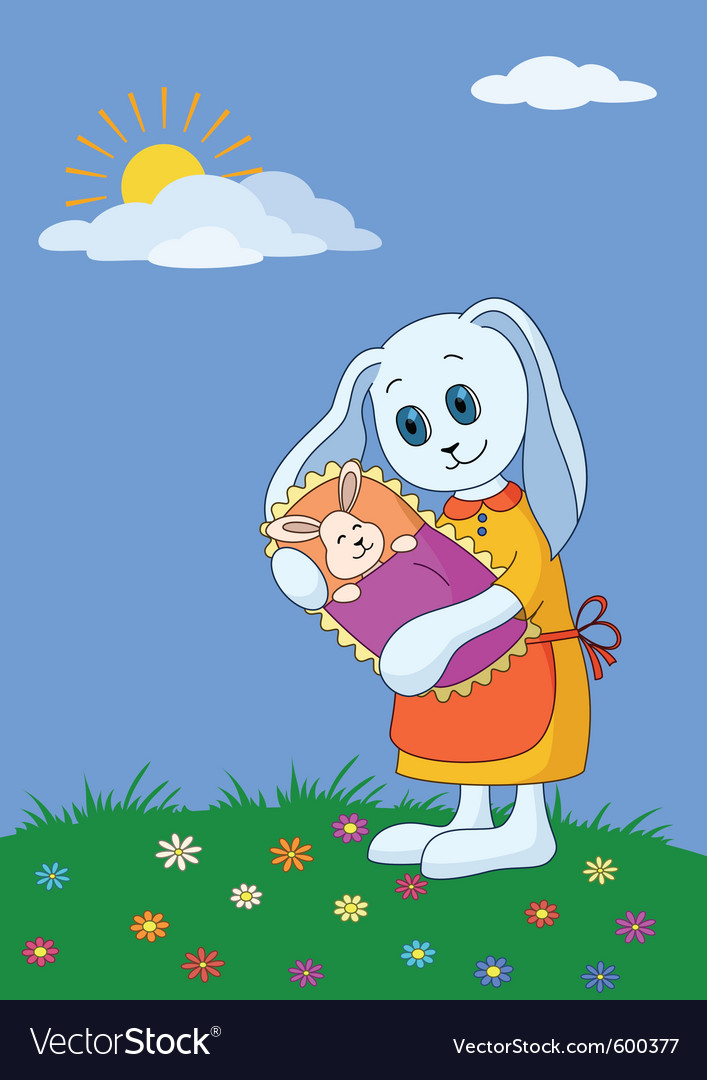 Rabbit mother with baby vector | Price: 1 Credit (USD $1)