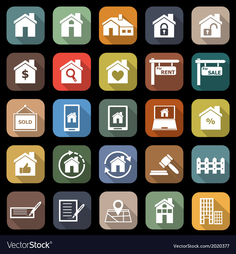 Real estate flat icons with long shadow vector | Price: 1 Credit (USD $1)