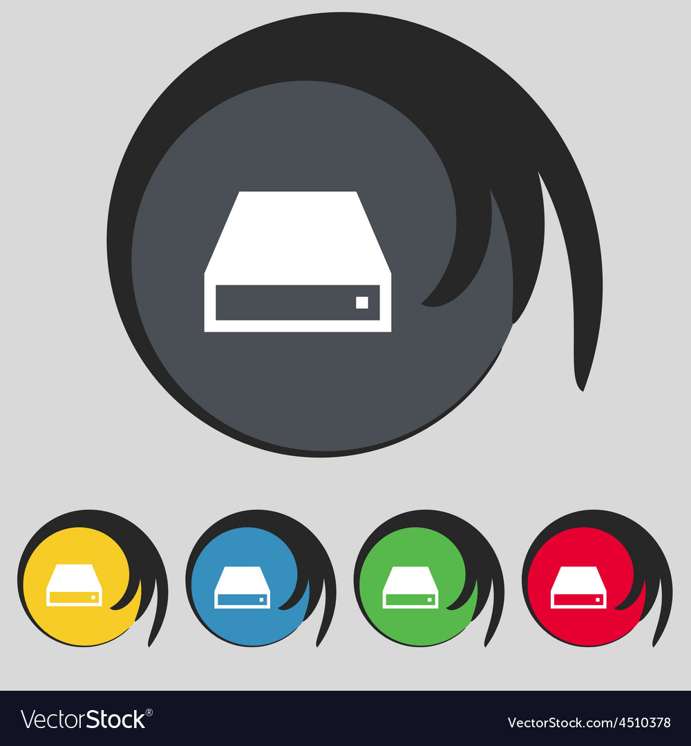 Cd-rom icon sign symbol on five colored buttons vector | Price: 1 Credit (USD $1)