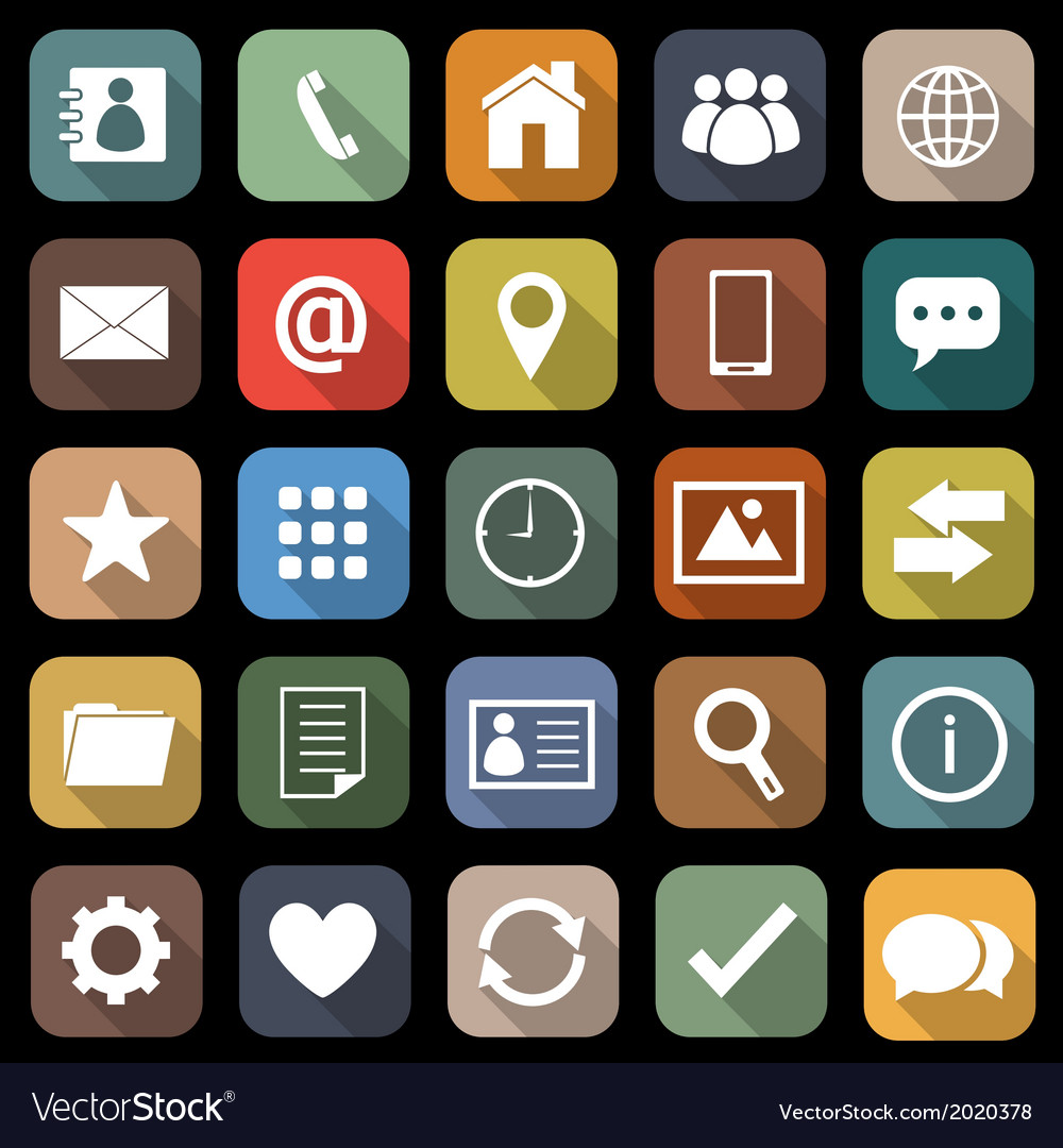 Contact flat icons with long shadow vector | Price: 1 Credit (USD $1)