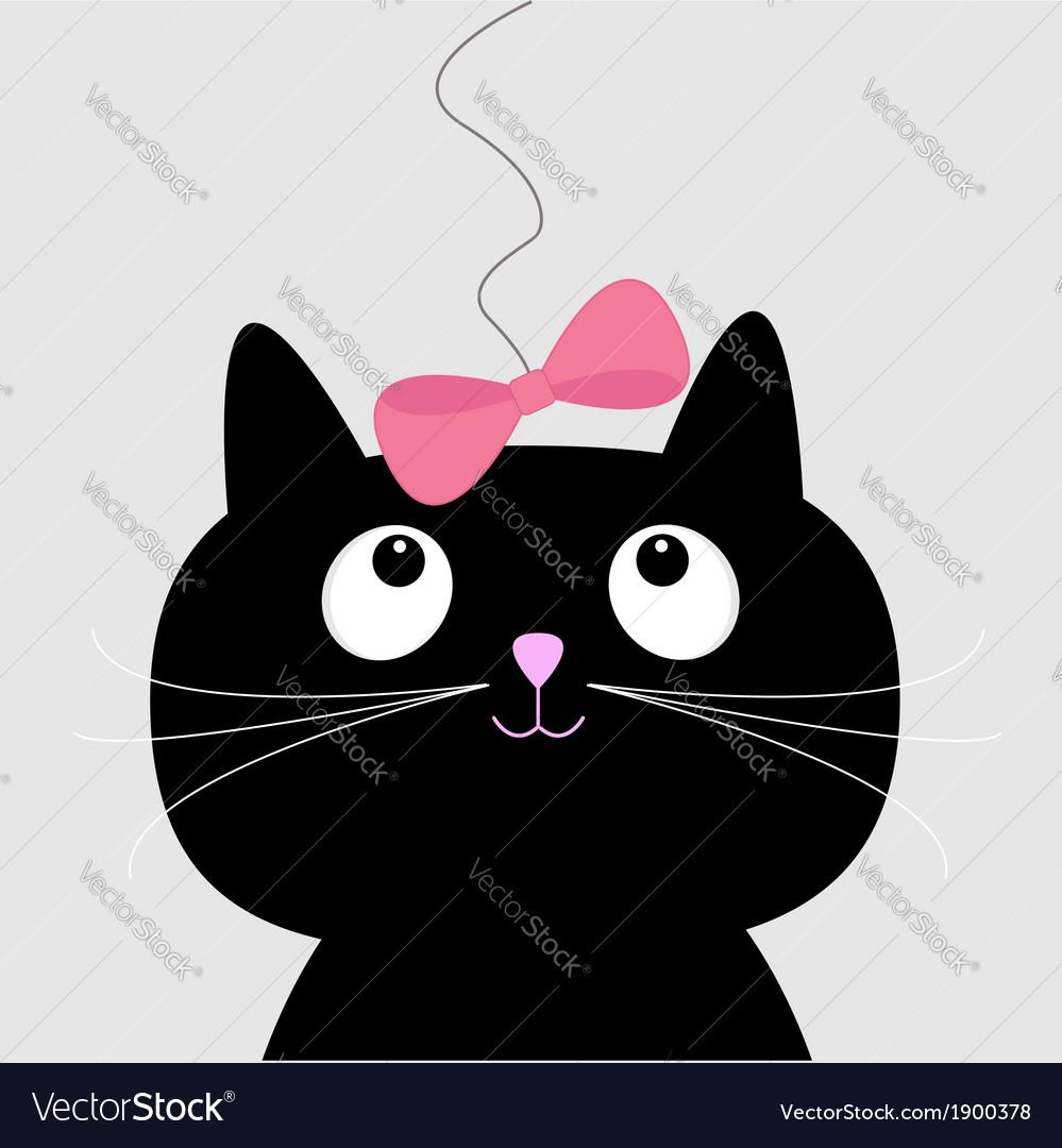 Cute cartoon black cat card vector | Price: 1 Credit (USD $1)