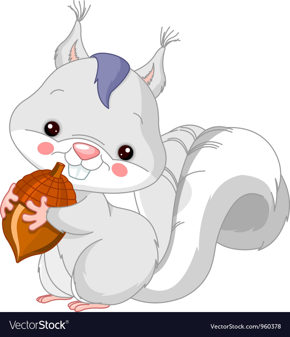 Fun zoo white squirrel vector | Price: 3 Credit (USD $3)
